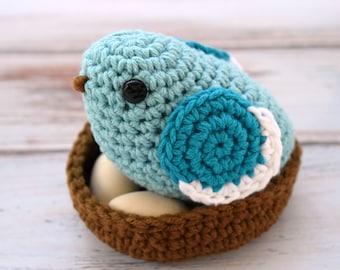 Crochet Bird - Amigurumi Bird - Nature Lover Gift - Bird Lover Gift - Preschool Toys - Bird Decor - Bird Nursery Decor - Crochet Birds Nest