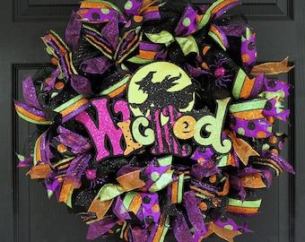 Halloween Wreath, Halloween Deco Mesh Wreath, Halloween Mesh Wreath