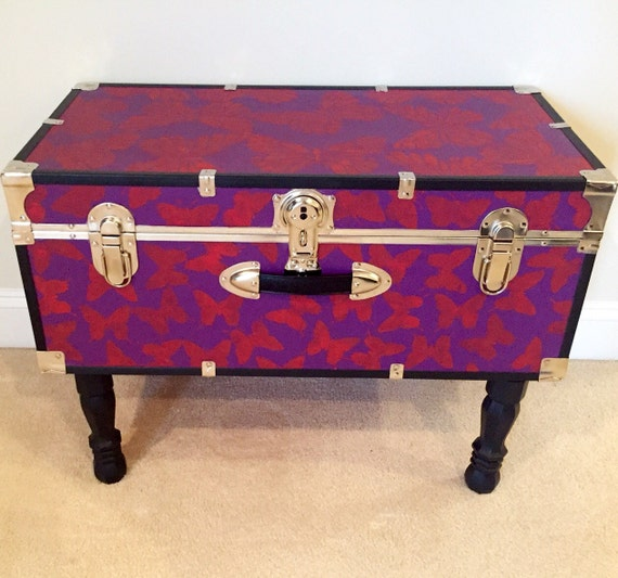 SALE Trunk Coffee Table Butterfly Print