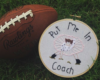 Football Hoop Art, Ace Ventura, Dance Decor, Embroidered Hoop Art, Boys Room, Jim Carrey, Unique Gift Idea