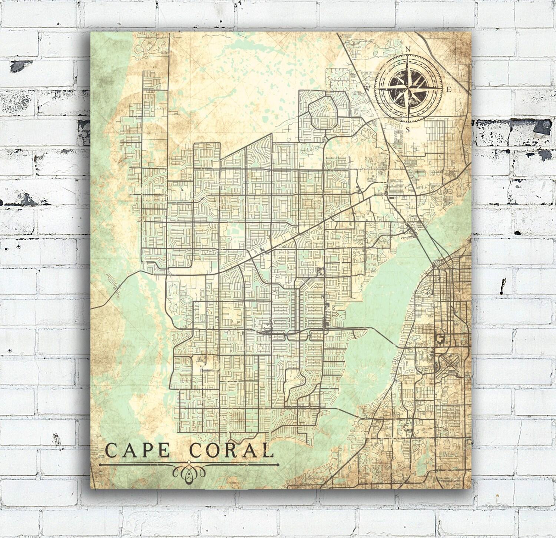 CAPE CORAL FL Canvas Print Florida Fl Vintage Map Cape Coral - Florida city map