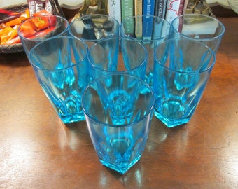 Set of eight blue drinking glasses