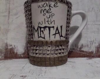 Wake me up with metal- white studded mug