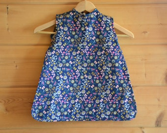 Bib long bio cotton sleeveless apron special DME blue and pink floral lined cotton ecru honeycomb