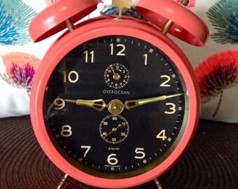 Vintage German Peg Leg Mechanical Alarm Clock- serviced and running