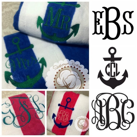 Monogram Beach Towel Personalize Beach By Southernismboutique