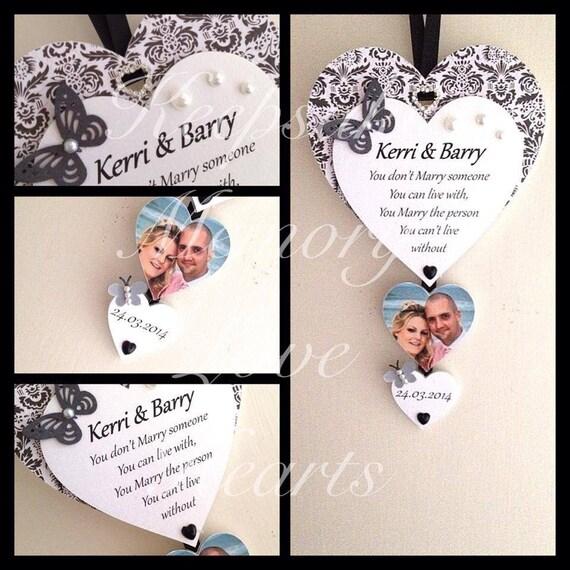 Wedding gift for couple personalised wooden keepsake heart