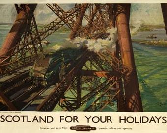 Scotland Forth Bridge, Railways, Trains, Retro,Vintage,Classic, Enamel Metal Sign (A5) Size  541