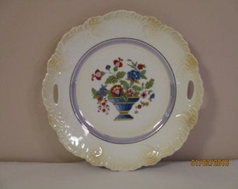 Vintage Bavarian Cake Plate with Flowers in a Vase