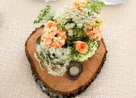 Wood slab centerpieces wedding by