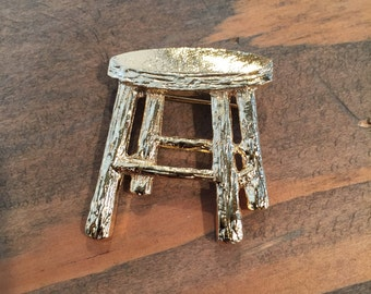 Stepping Stool Brooch | Gold Plated Stool Pin | Made in the USA