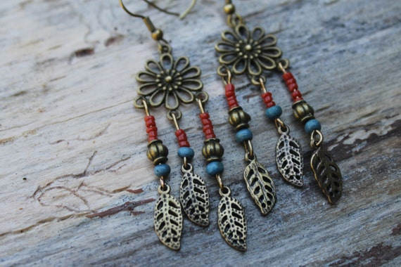 Boho Flower Earrings, Native American Earrings, Blue and Red Earrings, Statement Earrings, Leaf Charm Earrings