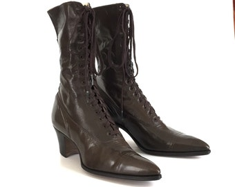 Victorian Edwardian vintage antique women's brown leather boots shoes by Craddock