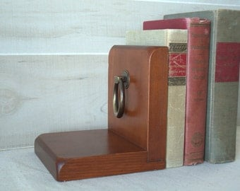 Wooden Bookend with Brass Ring Pull, Traditional Wood Boys Bookend, Simple Rustic Bookend