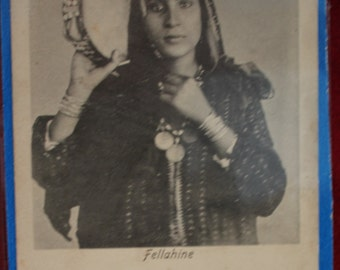 Rare Antique Postcard of Fellahine, Early 1900's, Belly Dancer, Musician