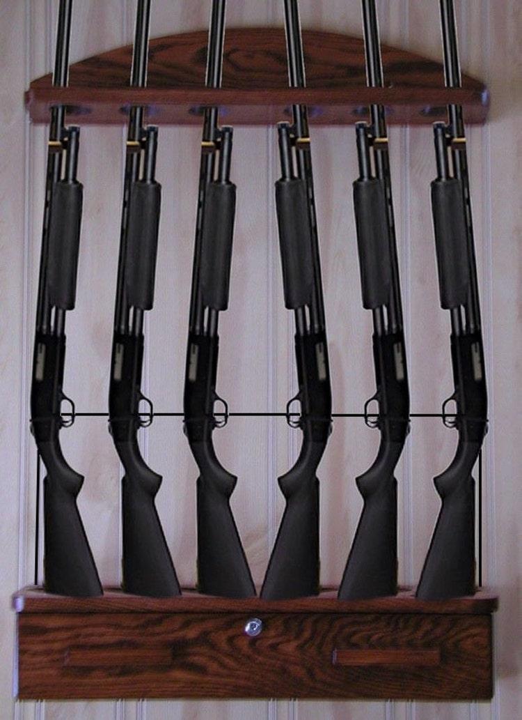 Gun Rack 6 Gun Locking Ammo Cabinet And Locking Cable By