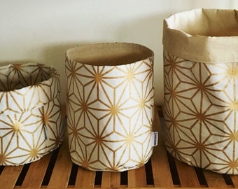 Gold geometric storage basket or plant pouch. Fabric basket, storage, fabric bin, round fabric basket.