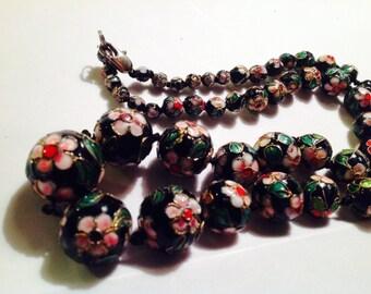 Vintage Cloisonné glass black beaded multicolored floral 25 inch necklace