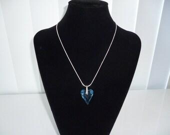 Cœur Cristal Swarovski  bleu & Chaîne argent 925 ***Expédition gratuite au Canada***Free shipping in Canada**Cadeau idéal