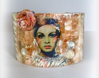 Cuff Bracelet Bohème Portrait Wrist hand painted portrait-woman-piece single-Adjustable