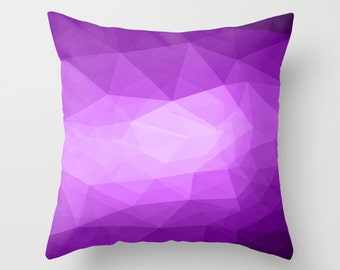 Throw Pillow. Geometric Polygonal Pattern. Bedroom. Purple Pillow. Purple Cushion. Bed Pillow. Sofa Cushion. Elegant Pillow