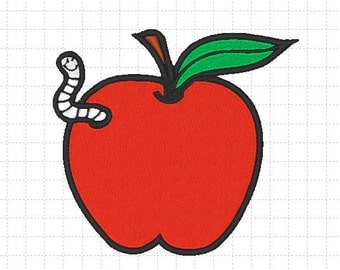 Apple and the worm Embroidery Design, 4x4, 5x7, Instant Download