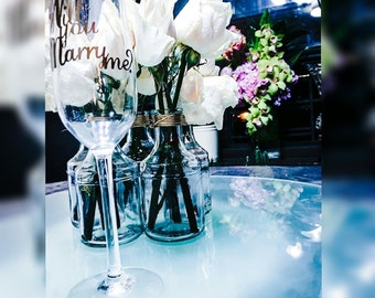 Will you marry be champagne glass