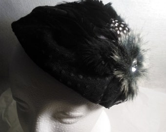 Vintage Black Feather Facinator Headband with Large Crystal, Hat, Headband, Flapper