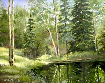 Original oil painting:  Lincoln Pond