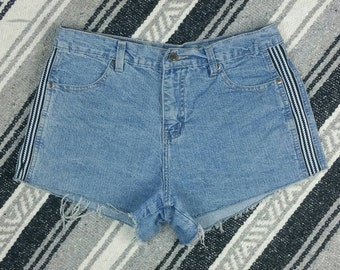 "Retro Side Stripe High Waisted Denim Cut off Shorts size M (waist 30"")"