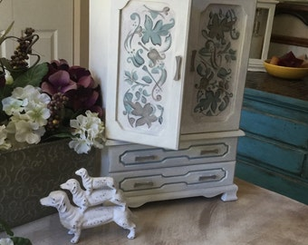Vintage Hand Painted Jewelry Box Armoire // Heirloom Upcycled Shabby Chic Jewelry Armoire