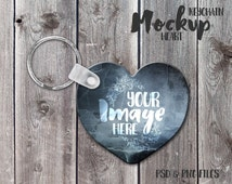 Heart Keychain Mockup Template | Photoshop Mockup | Key Ring Template | Stock Photography | Sublimation