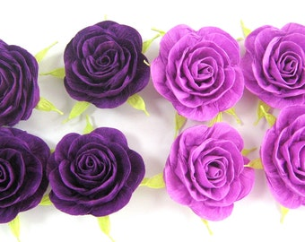 12 purple plum lavander large backdrop giant crepe paper flowers rose Wall decor wedding table buffet CENTERPIECE bridal baby shower Nursery