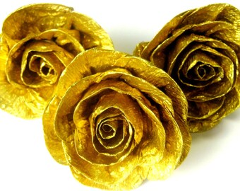 6 Gold paper flowers rose Royal bridal baby shower wall decor Cake Table Backdrop Wedding gold chanel Birthday Anniversary paris graduation