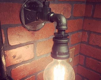 Steampunk Industrial Wall Sconce Light with operational(or non-operational) valve Switch