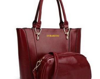 Faux Leather Medium Shoulder Bag