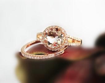 14K Rose Gold 2PCS Set Morganite Ring Set Bridal Wedding Ring Diamond Half Eternity Ring Matching Wedding Ring