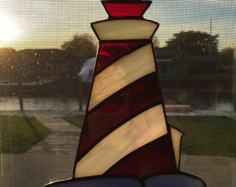 Lighthouse stained glass sun catcher