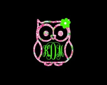 Owl with Flower Monogram Decal, Preppy Prints, Matching Monogram or Solid Color, Car Decal, Nursery Decor, Home Decor, iPad, iPhone