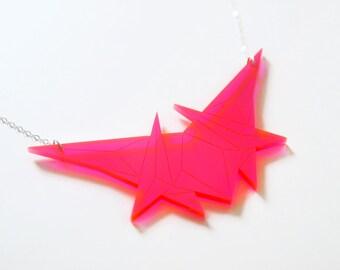 Fluorescent Pink Geometric Necklace, Laser Cut Acrylic, Futuristic Jewelry, Minimalist Jewelry