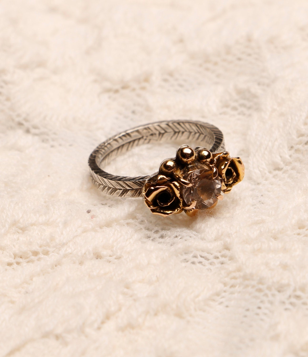 mae 18k gold and oxidized silver morganite ring