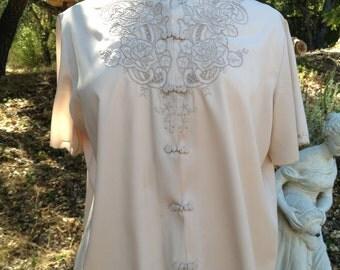 Vintage Embroidered Silk Blouse - Large