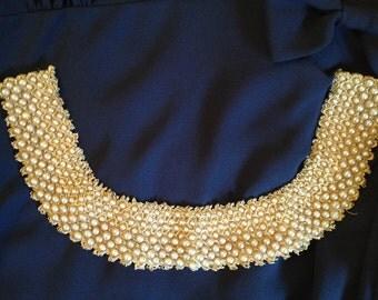 Vintage 1950's Cream Beaded Collar Necklace