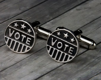 Political Accessories – Vote Cuff Links – Vote Cufflinks - Mens Accessories - Republican - Democrat - Gifts for Him – Politics - Vote - Mens