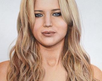 Jennifer Lawrence Original Fine Art Colored Pencil Drawing