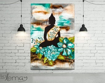 Print reproduction teal Buddha with flowers on canvas or watercolor paper by Marika Lemay mixed media artist. Zen and modern decor