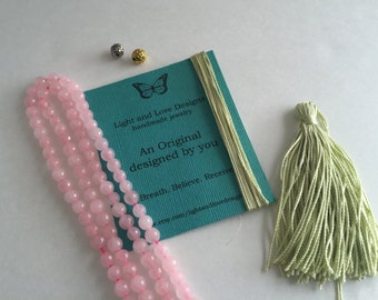 Make your own mala necklace kit, gemstones, handmade silk tassel, mala necklace, 108 tassel necklace