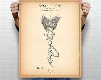 """8x10"""" """"TROLL LURE"""" Patent, Instant Download #1017, Vertical Patent Print, fits 8x10"""" 11x14"""" 16x20"""" frame"""