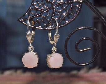 Peruvian Pink Opal 3.00 TCW 8 MM Faceted Round Cut Leverback Earrings