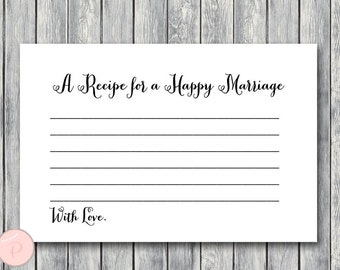 A Recipe for a Happy Marriage Printable Card, Bridal shower game, Bridal shower activity, Printable Game TH000